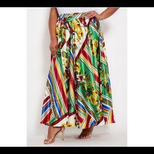 Maxi flair satin skirt